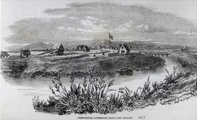 Christchurch, Canterbury Colony, New Zealand, from 'The Illustrated London News', 9th April 1853