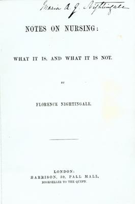 Frontispiece to Florence Nightingale's 'Notes on Nursing: What it is, and What it is not', published in 1860