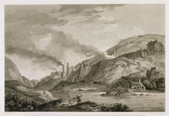 An Iron Work for Casting of Cannon and a Boreing Mill taken from the Madeley side of the River Severn, Shropshire, engraved by Wilson Lowry