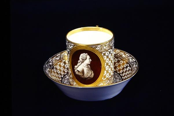 Sevres cup and saucer with an effigy of Louis XVI, c.1775