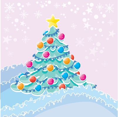 Four Seasons Scenery - Christmas Tree in Snow | Clipart
