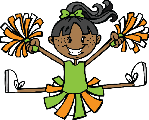 Cheerleader - Green and Orange | Clipart