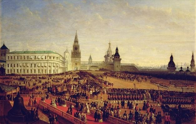 Military parade during the Coronation of Alexander II in the Moscow Kremlin on the 18th February 1855, 1856