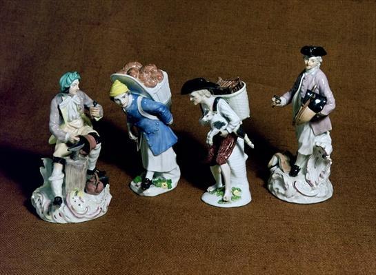 Meissen figures: saddler, goat seller and coppersmith, modelled by Johann Joachim Kandler