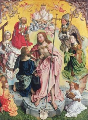 Central panel from the St. Thomas Altarpiece, 1501, Christ and Saint Thomas surrounded by St.Helena, Mary Magdalena, St.Jerome and St.Ambrose