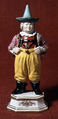 Figure of a court jester, after an engraving by Boetius, Meissen, mid 18th century