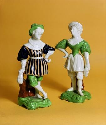 Rockingham figurines from the Commedia dell'Arte in 16th century costume, c.1830
