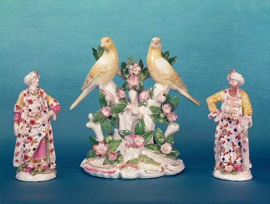 Worcester figures of a Turk and his companion with birds, Dr. Wall period, c.1770