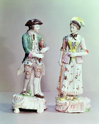 Plymouth porcelain shepherd and shepherdess, c.1770