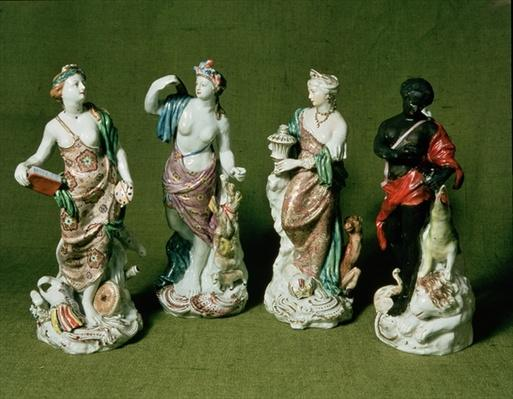 Plymouth porcelain figures of the Four Continents produced under William Cookworthy from Longton Hall moulds, c.1770