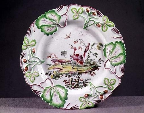 Longton Hall plate, moulded with strawberries, 1749-60