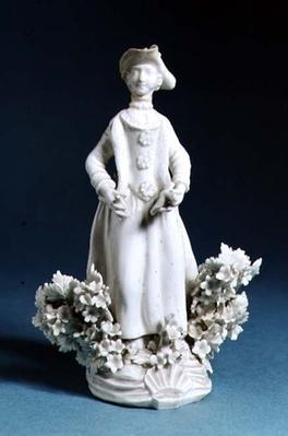 Worcester figure of a sportsman's companion, unpainted, late 18th century