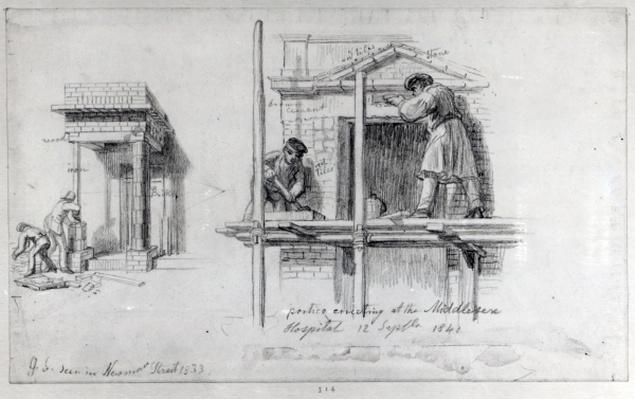 Erecting Porticos at Newham Street and Middlesex Hospital, London, 1833 and 1840