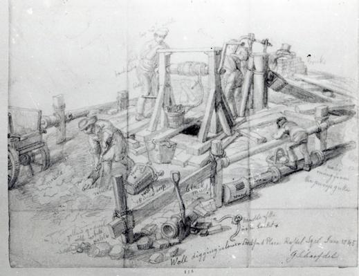 Digging a well in Lower Bedford Place, London, 1845