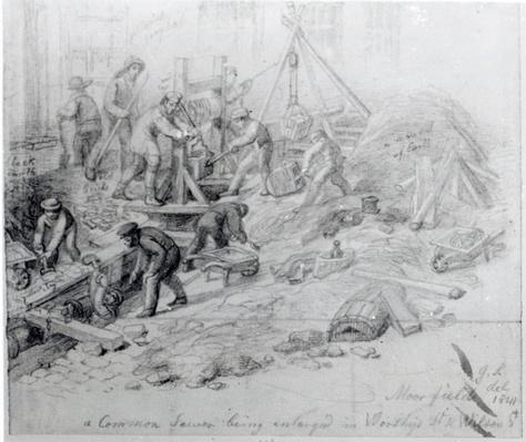 Enlarging the sewers at Moorfields, London, 1841