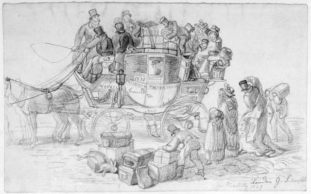 A West Country Mail Coach leaving Piccadilly, 1829
