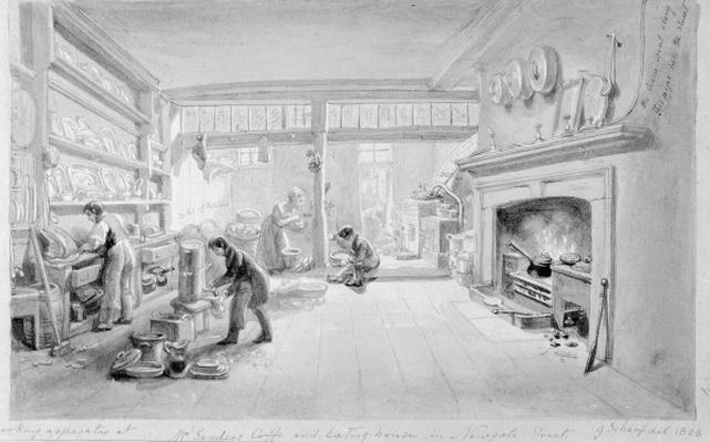 The Kitchen of Mr. Sander's Coffee and Eating House, Newgate Street, 1828