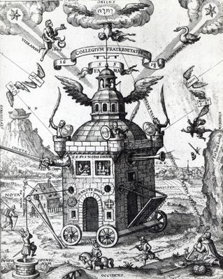 Frontispiece of 'Collegium Fama Fraternitatis' by Theophilus Schweighardt, 1618