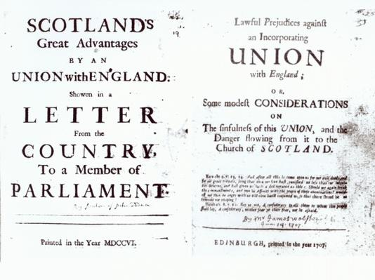 Pamphlets showing both sides of the Anglo-Scottish union debate, 1707