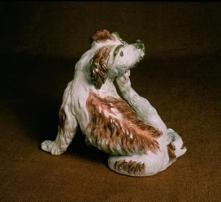 Derby figure of a King Charles spaniel, Chelsea-Derby period, c.1780