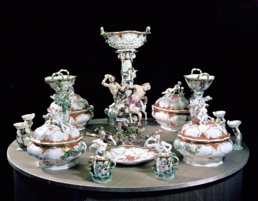Part of a Meissen dinner service ordered by Frederick the Great for General von Mollendorf, decorated with figures of satyrs and Silenus and an ass, 1761