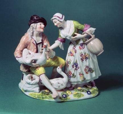 Meissen figure of a poultry seller, c.1750
