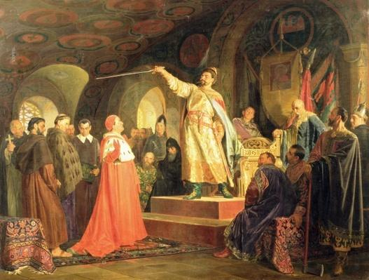 Prince Roman of Halych-Volhynia receiving the ambassadors of Pope Innocent III, 1875
