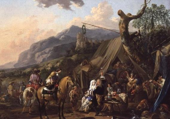 Military commander at a mountain encampment with merrymakers