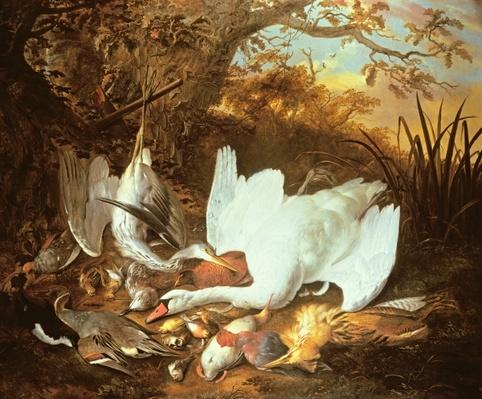 Still Life of Swan and Game in a Landscape