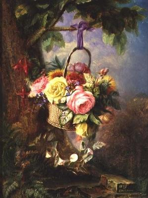 Basket of Roses with fuschia, 19th century