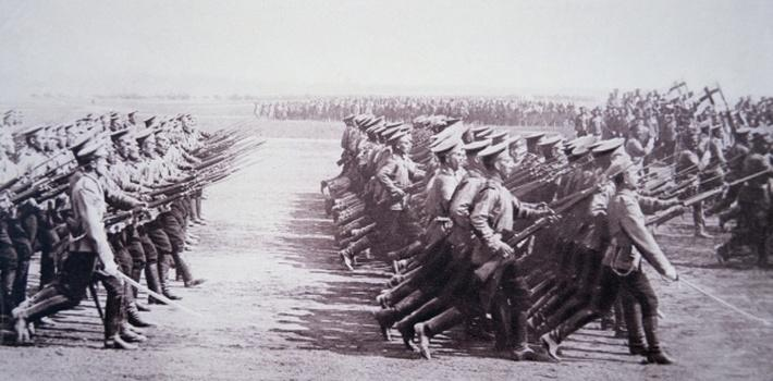 Russian troops parade in August 1914 before marching against Austro-German armies in WWI, 1914