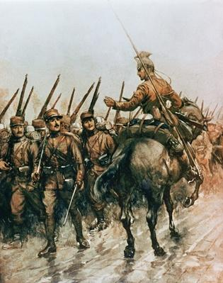 Lancer of the Belgian Guides Corps passing French infantry marching to the front in 1914