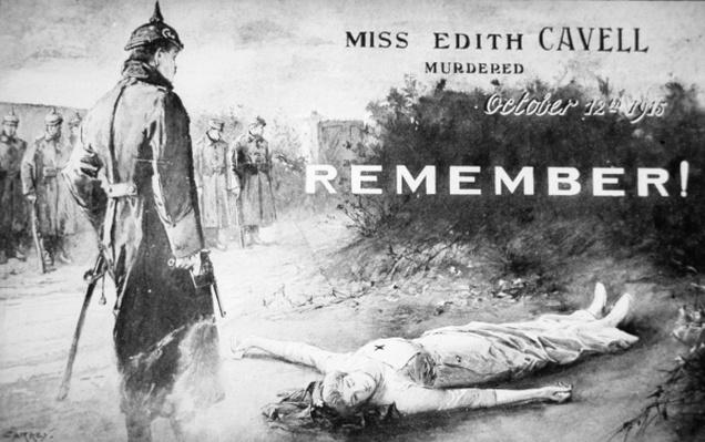 Edith Cavell postcard, published shortly after her execution by the Germans on 12th October 1915