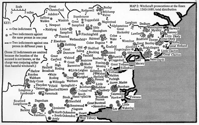 Map showing locations of prosecutions for witchcraft at Assizes in Essex 1560-1680