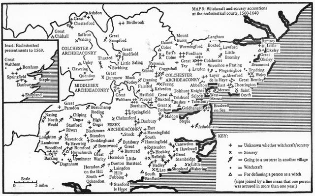 Map showing locations of prosecutions for witchcraft and accusations of sorcery at ecc;esiastical courts in Essex 1580-1640