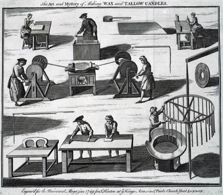 The Art and Mystery of Making Wax and Tallow Candles, engraved for the 'Universal Magazine', 1749