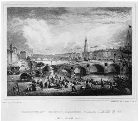 Broomielaw Bridge, Carlton Place, Clyde St., Glasgow, engraved by Joseph Swan, 1830