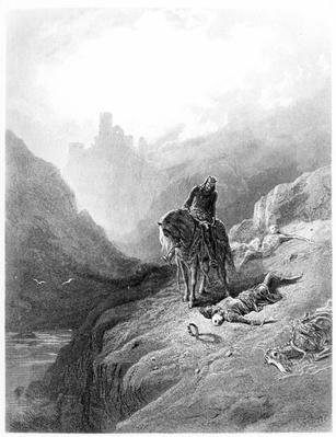 King Arthur discovers the Skeletons of the Brothers, illustration from 'Idylls of the King' by Alfred Tennyson