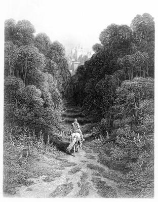 Lancelot approaches the Castle at Astolat, illustration from 'Idylls of the King' by Alfred Tennyson