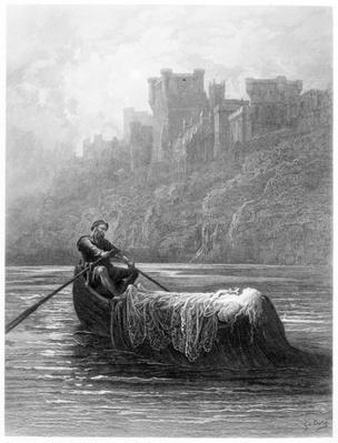 The Body of Elaine on its way to King Arthur's Palace, illustration from 'Idylls of the King' by Alfred Tennyson