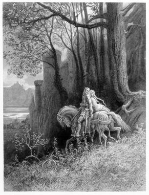 Geraint and Enid Ride Away, illustration from 'Idylls of the King' by Alfred Tennyson