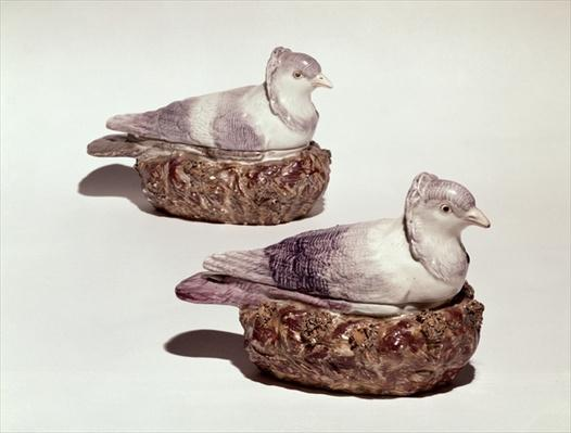 Pair of Staffordshire pottery tureens in the form of pigeons, c.1790