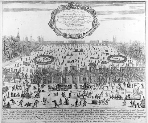 The Frost Fair of the winter of 1683-84 on the Thames, with Old London Bridge in the Distance. c.1684