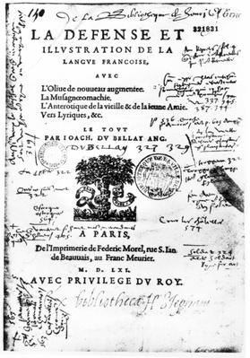Frontispiece of 'La Defense et Illustration de la Langue Francaise'by Joachim du Bellay, printed by Federic Morel in Paris in 1561