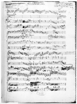 Opening page of the score of 'Les Paladins', opera by Rameau