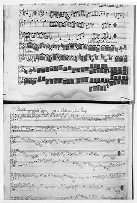 Score for Telemann's Suite for two violins, the 'Gulliver Suite', including the 'Chaconne of the Lilliputians', printed in Hamburg in 1728
