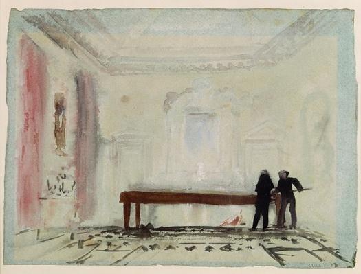 Billiard players at Petworth House, 1830