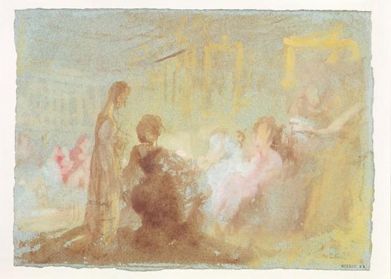 Interior at Petworth House with people in conversation, 1830