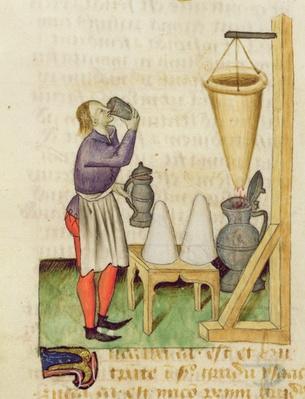 Ms. 'Tractatus de Herbis' by Dioscorides, fol.142r Making Alcohol
