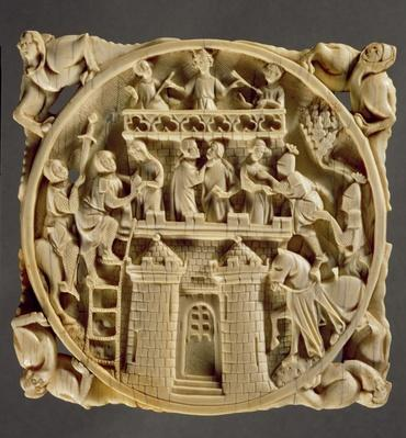 Ivory back of a mirror depicting the God of Love besieged in his castle